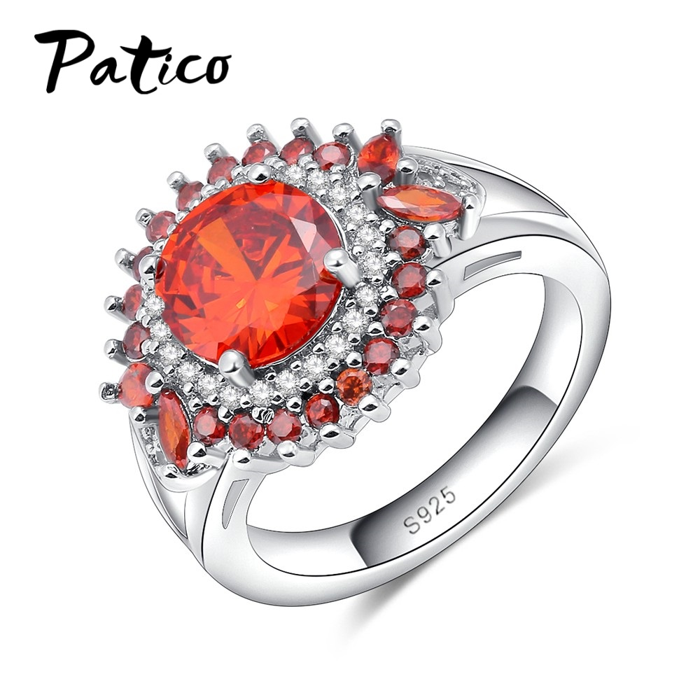PATICO Fashion Wedding Rings for Women 925 Sterling Silver Shiny Round Orange CZ Zirconia Crystal Cubic Zirconia Party Big Ring