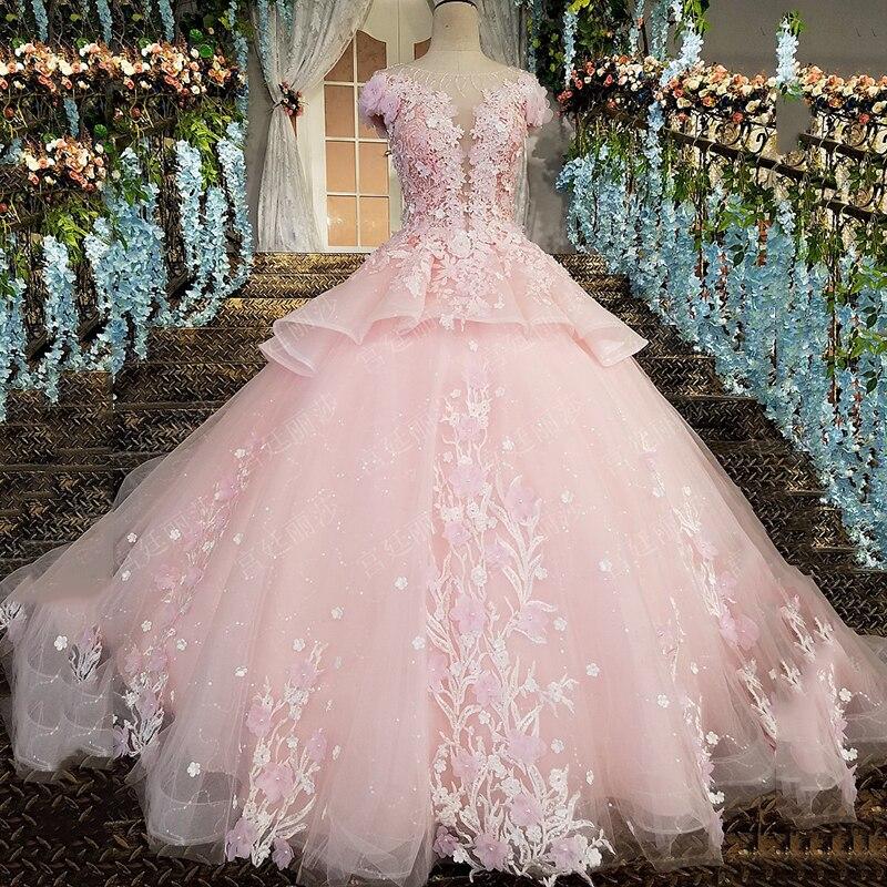 Do Dower New Luxury Lace Flower Colorful Wedding Dress Classic Beadwork Zipper Floor Length Princess Bride Gown Robe De Mariee L