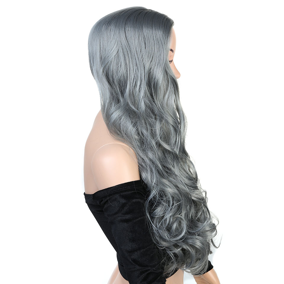 Pageup Wavy Hair Cosplay Long Wigs With Bangs For Women Ladies Heat Resistant Black Blue Blonde Pink Green Gray Synthetic Wig (5)