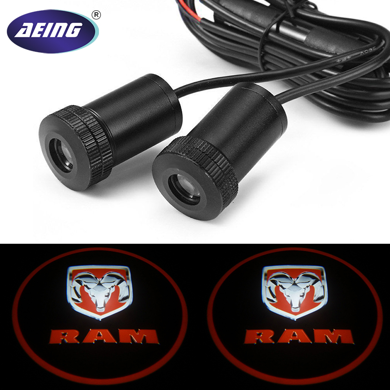 AEING For Dodge RAM 2pcs Ghost Shadow Logo welcome Car White LED Door Light Laser Courtesy Slide Projector logo Emblem light car door step courtesy welcome light projector laser logo light ghost shadow puddle emblem spotlight drop for hello kitty