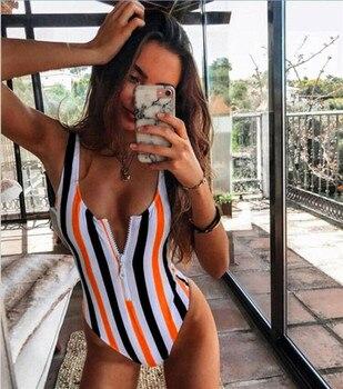 New Sexy Zipper One Piece Swimsuit Women Swimwear Push Up Monokini Bodysuit Swimsuit Print Bathing Suit Summer Beachwear XL 10