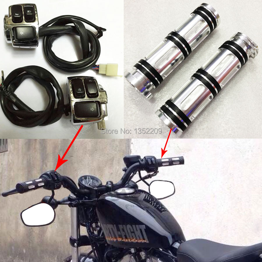 small resolution of motorcycle 1 handlebar wiring harness control switches edge cut hand grips for harley sportster