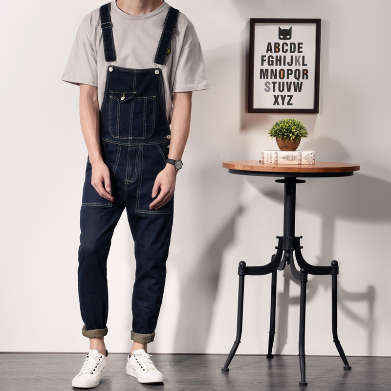 Free shipping 2017 Mens blue Denim Jumpsuits Fashion Bib Overalls with Pockets for Male Men Jeans Suspender Bib Pants 040609 2016 brand mens denim overalls fashion bib jeans skinny overalls for men hole slim black and white suspender pants m xxl