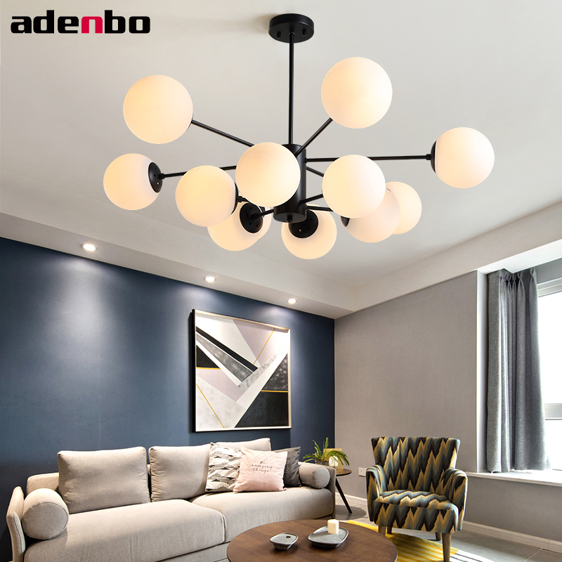 Chandelier Lights Black Iron Ceiling E27 LED Chandeliers Lighting Fixture With Glass Shade For Living Room And Bedroom Lighting