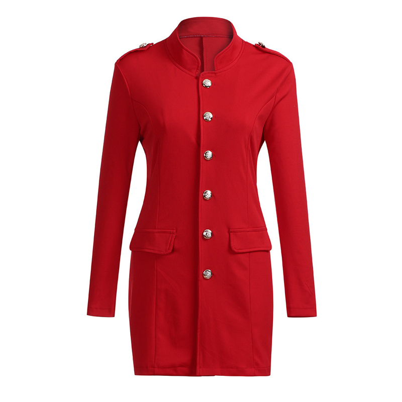 Lossky Women Jacket Blazers Slim Lady Office Wear Outwear Long Sleeve Stand Collar Formal Suit Long Black Red Autumn Spring Coat 5