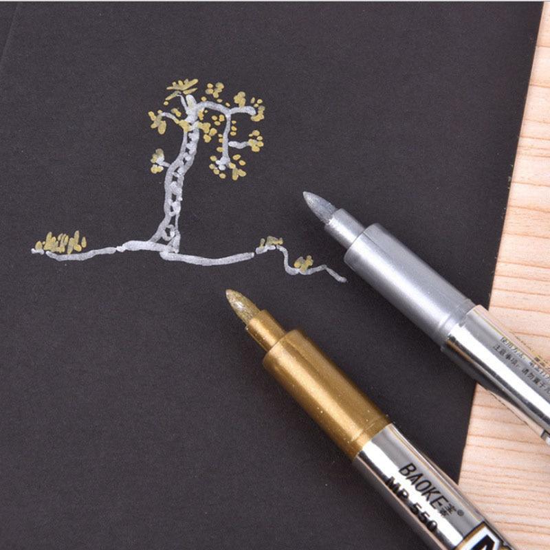 1pcs DIY Metal Waterproof Permanent Paint Marker Pens Sharpie Gold And Silver 1.5mm Student Supplies Marker Craftwork Pen