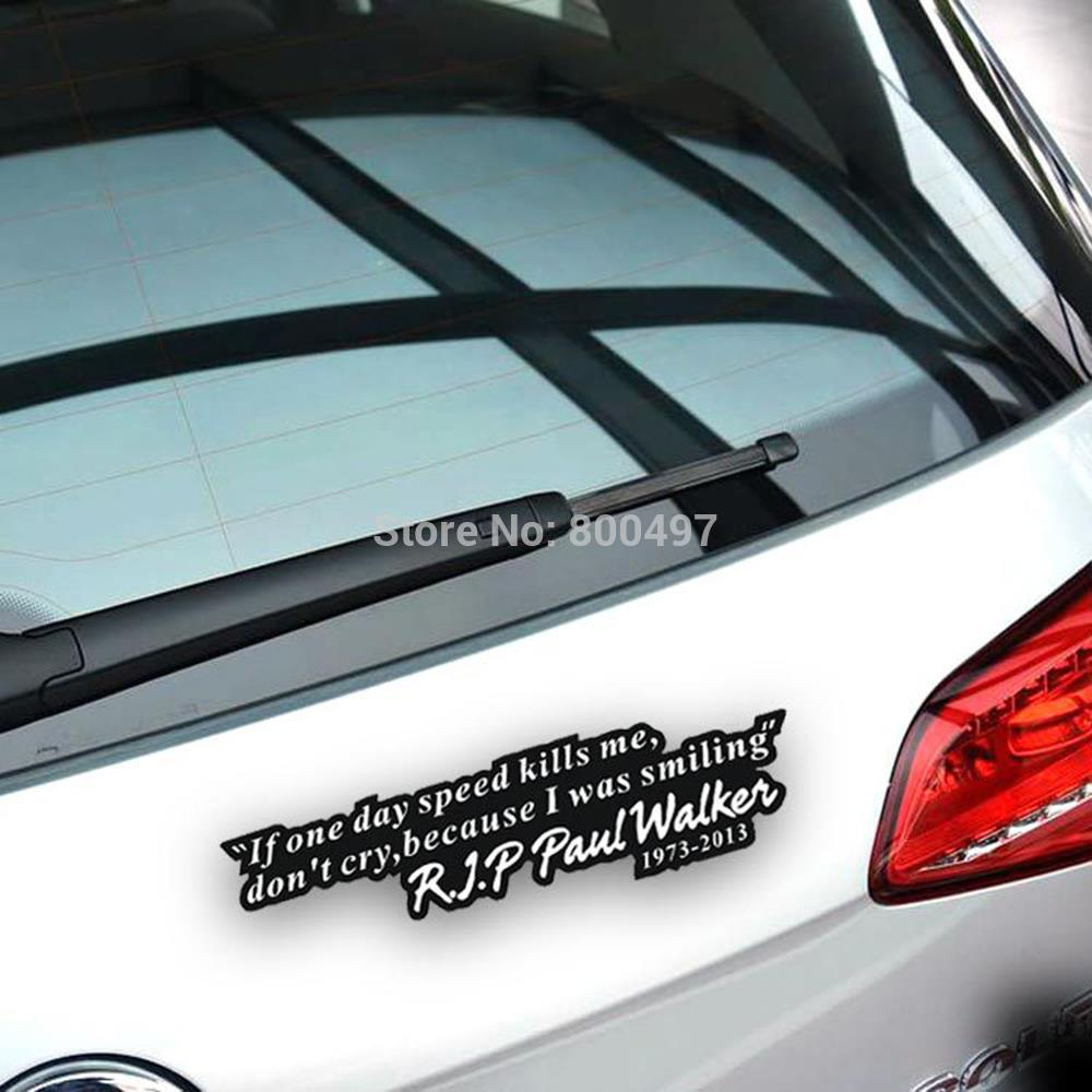 10 x paul walker motto fast and furious car sticker auto decal car accessories for tesla toyota chevrolet hyundai lada in car stickers from automobiles