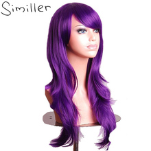 Similler Ladies 70cm Purple Color Long Wavy Costume Party Synthetic Cosplay Wigs With Bangs High Temperature Fiber