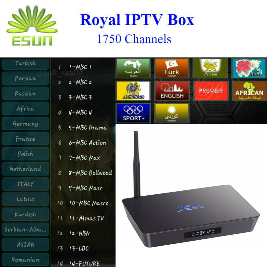 Arabic IPTV Box X92 Android 4K H.265 Smart TV Box 1850 Europe Swedish Albanian Persian Turkey Germany PayTV Royal IPTV Box