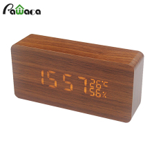 Feature-rich LED alarm clock digital Dual Display Vintage wood mini clock gift voice control smart auto brightness alarm clock