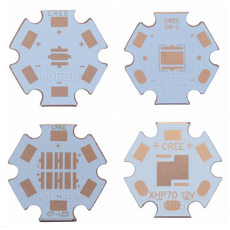 10PCS 20mm Cooper PCB Cree XPG XPG2 XPE XPE2 XML XML2 XHP50 XHP70 MKR 4PCS 3535 LED XPE XTE 6V/12V Led Heatsink 16mm Copper PCB