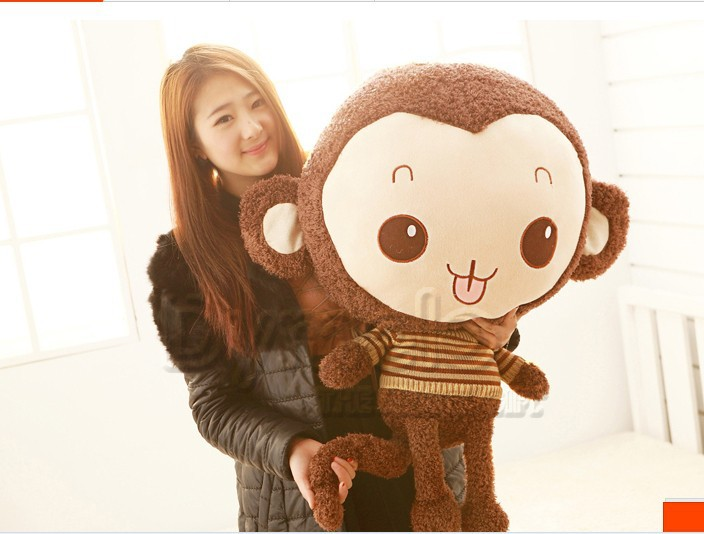 ФОТО lovely stuffed monkey animal plush toys monkey toy  doll with stripe cloth birthday gift dark coffee about 68cm
