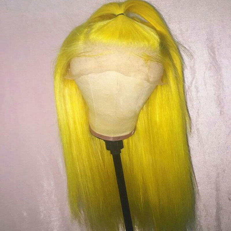 Bombshell Yellow Black Red Grey White Pink Straight Synthetic Lace Front Wig Glueless Heat Resistant Fiber