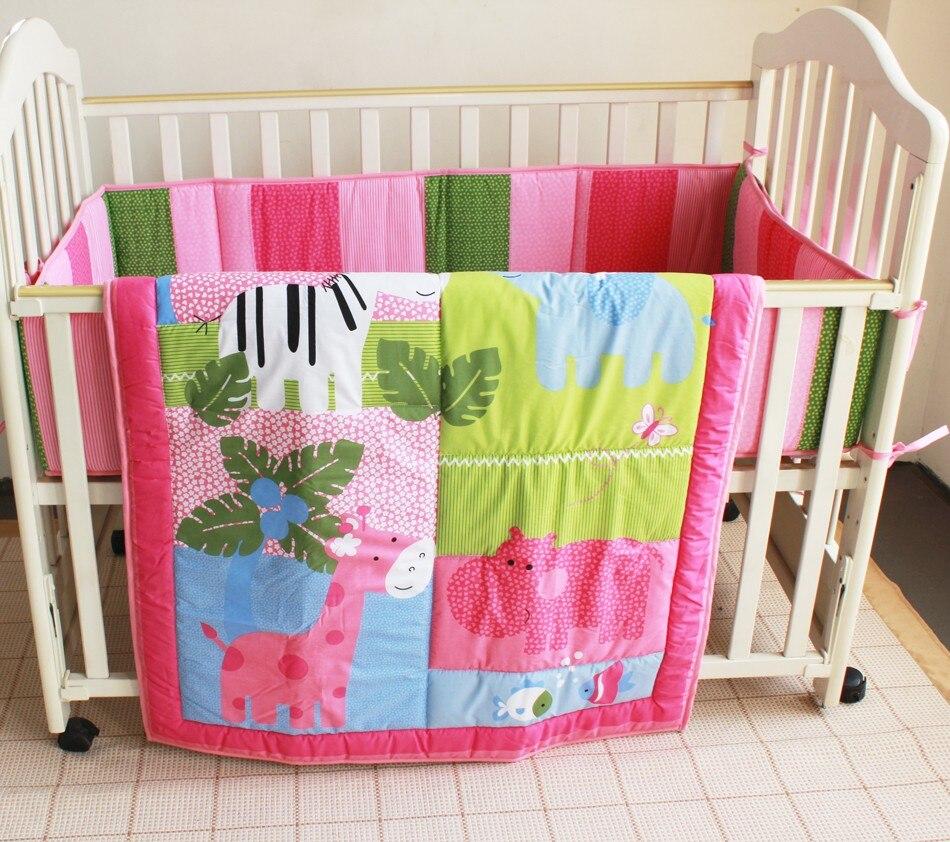 Baby crib zebra bedding - Bedding Set 6 Pieces Embroidery Elephant Hippopotamus Giraffe Zebra Baby Bedding Set Quilt Bumper Mattress Cover