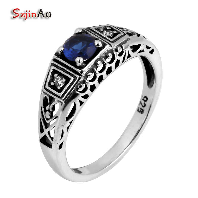 Szjinao ผู้หญิงสีเงินเครื่องประดับขายส่งแฟชั่น Victoria gold และ silver เครื่องประดับ 925 เงินสเตอร์ลิง sapphriel แหวน