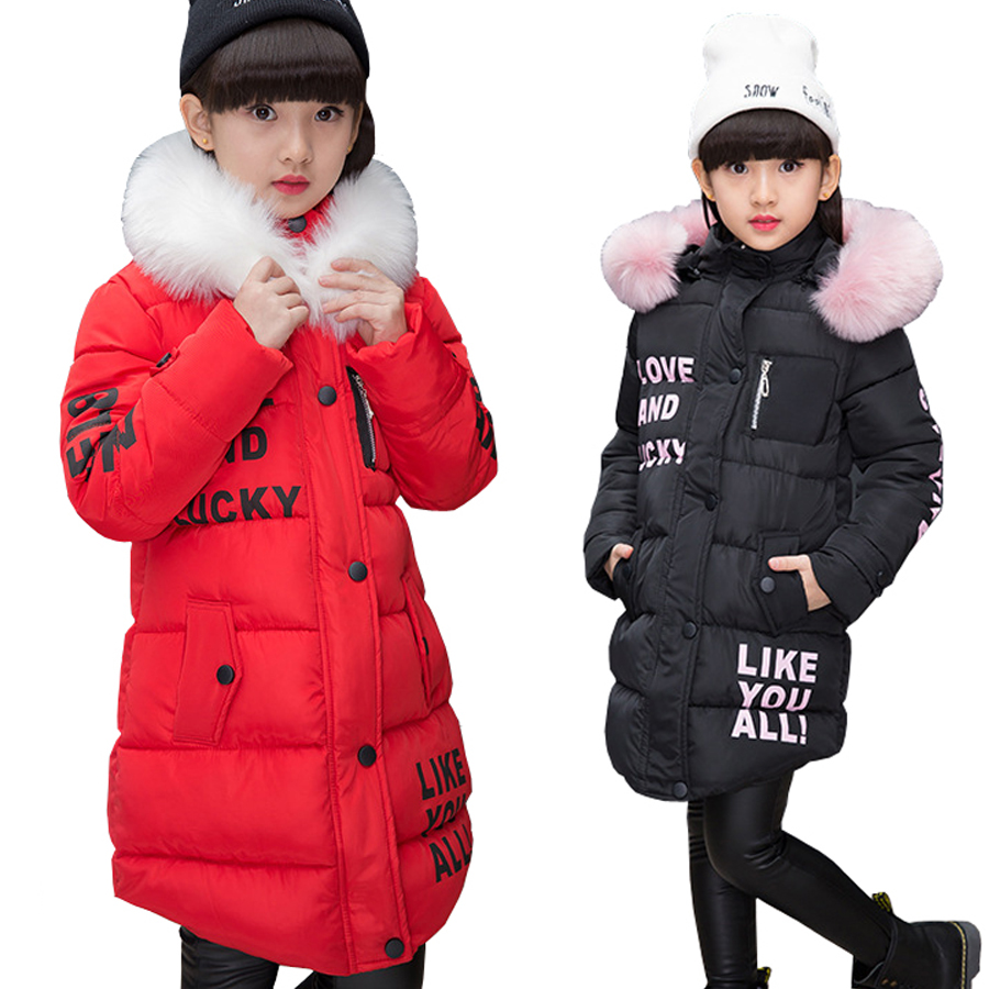 2017 New Jackets Girls Autumn Winter Coat Cotton Padded Fur Hooded Kids Jacket For Girls Clothes Children Clothing Parkas Girl children thicken warm winter coat kids cotton padded jacket wadded outwear thickening boys girls fur hooded parkas clothes y105