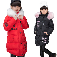 2017 New Jackets Girls Winter Coat Cotton Padded Fur Hooded Kids Winter Jacket For Girls Clothes