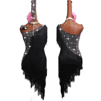 New Black Fringe Dress Latin Dance Dress Women Female Ballroom Cha Cha Salsa Latin Dance Clothing Stage Dance Costumes BL1425