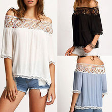 Women Sexy Summer Off Shoulder Loose shirt White Tops Lace Shirt Blouse Tee