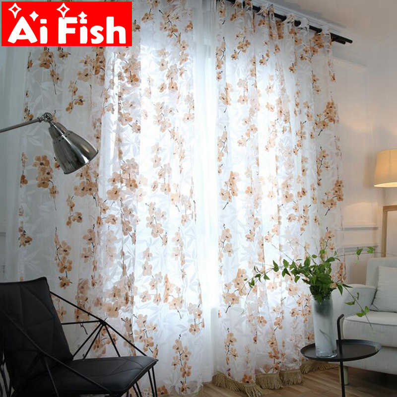 Pastoral Yellow Burntout The Explosion of Plum Window Screens Curtain For Bedroom Purple Print Cotinas Kitchens Tulle  DF064#30