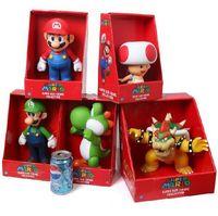 Super Mario Collection Figure With Box Mario Yoshi Luigi Koopa Bowser Toad Action Figure Toy Collectable