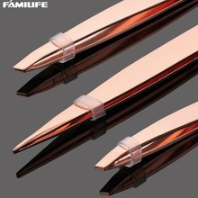 3pcs Eyebrow Tweezer Set Rose Gold  with Leather Travel Case Triad Fix Repair Tool Kit Face Hair Removal Make Up Tools L0422