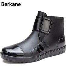 Мужские резиновые сапоги из пвх модные короткие (до щиколотки) водонепроницаемые сапоги на резиновой подошве на дождливую погоду повседневная дышащая водонепроницаемая обувь с нескользящей подошвой на липучке.