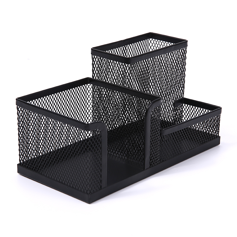 M&G Affordable Students Office Desk 3 Compartments Metal Pen Holder Black 182 X 100 98mm
