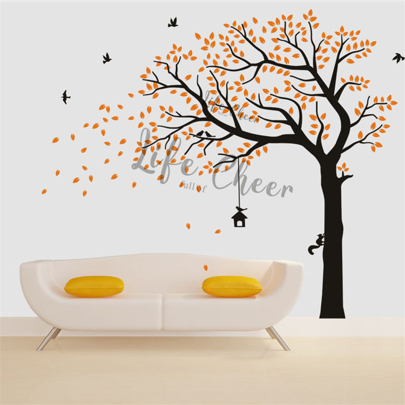 Grande taille arbres mur Art affiche amovible vinyle stickers muraux oiseaux volants vinyle stickers muraux maison salon décoration AC234