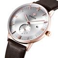 Marca de luxo Ultra fina Data Homens De Couro Genuíno Relógio de Quartzo Esportes Casuais Relógios Homens À Prova D' Água Relógio de Pulso Relogio masculino