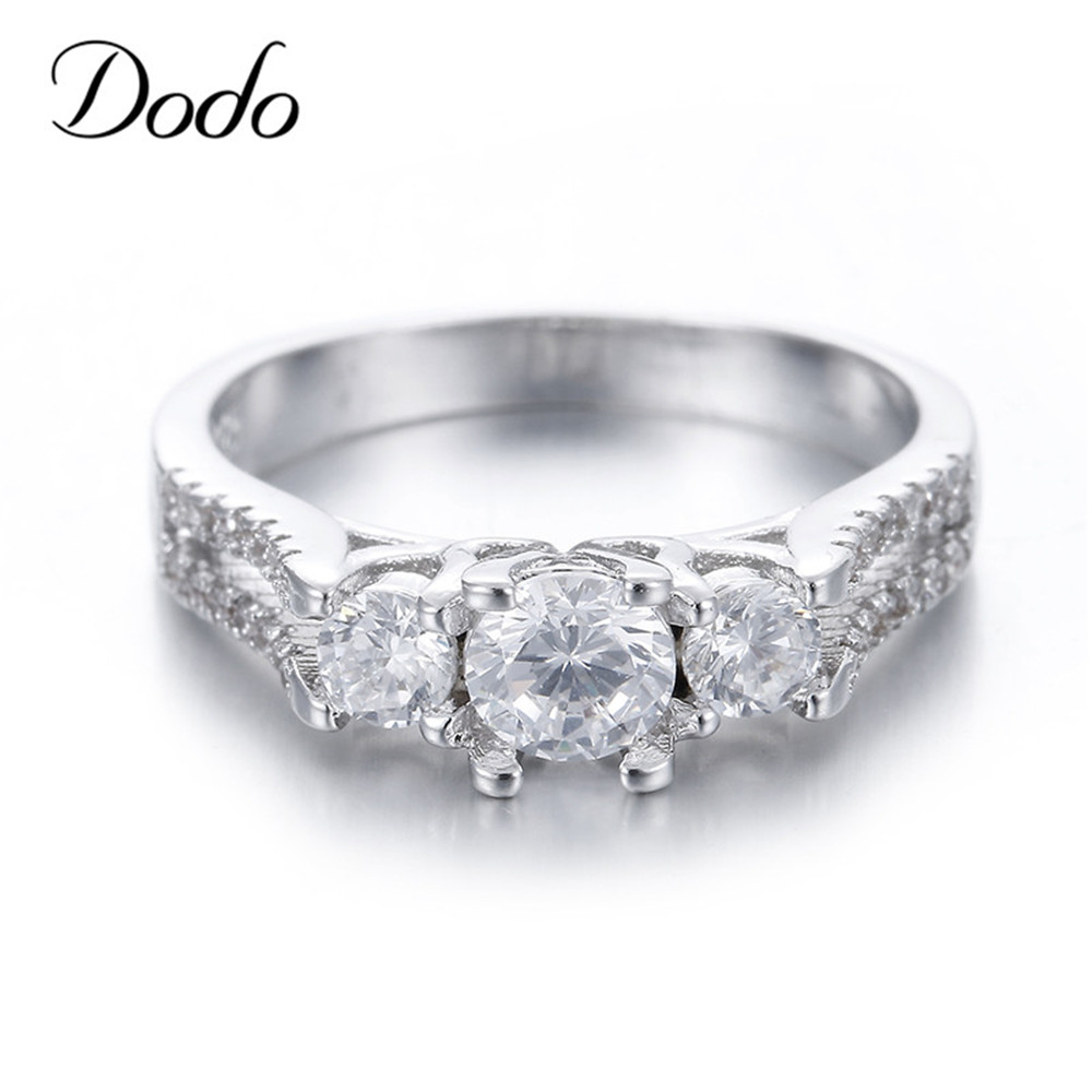 925 Sterling Silver Vintage Jewelry Wedding Engagement Rings Women Bague  Crystal Anillo Mujer Anel Feminino Girls