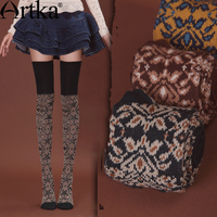 Artka Women S Autumn Vintage Solid Fashion Jacquard All Match Soft Skin Friendly Long Lanon Stockings