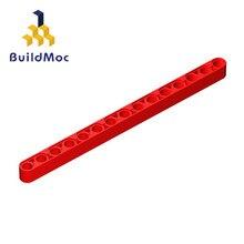 Buildmoc 64871 32278 técnica liftarm 1x15 grosso para blocos de construção peças diy logotipo educacional tecnologia peças brinquedos