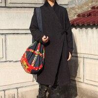 Folk-stil Han lang Kleiden baumwolle leinen windjacke frauen windschutz wind mantel