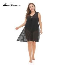 Lan Karswear Beach Cover Up Bikini Crochet Summer Swimsuit Sexy See-through Dress Plus Size Black Hollow out