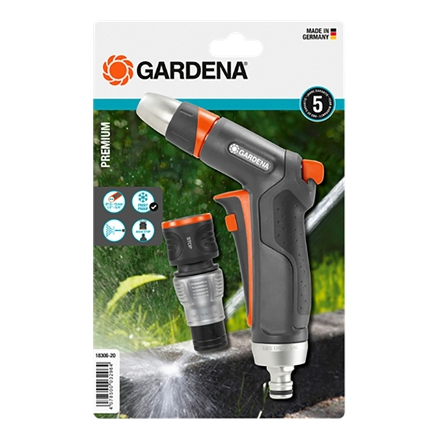 Набор поливочный GARDENA 18306-20.000.00 (Пистолет-наконечник для полива, коннектор с автостопом, регулировка струи)