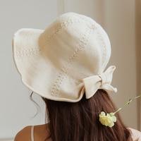 Senhoras arco kneets linho ocasional dobras cap sombrinha Mulheres verão protetor solar cap bacia