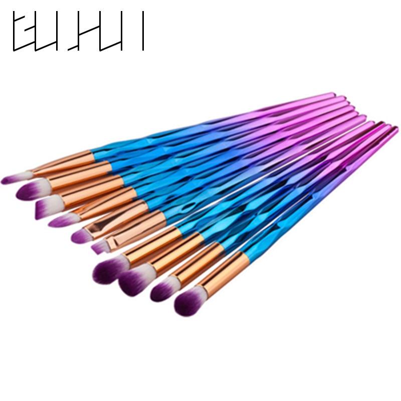 10 pçs/set Rainbow Aspirador Escova Eye Make Up Brush Eyeshadow Sobrancelha Cílios Escova para As Mulheres Beleza Cosméticos