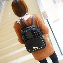 2016 new winter Plush Korean female college style pony turn lock zipper soft button backpack Plaid free shipping