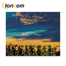 RIHE Sunset Flower Field Diy Painting By Numbers Abstract Sunflower Oil On Canvas Cuadros Decoracion Acrylic Wall Art