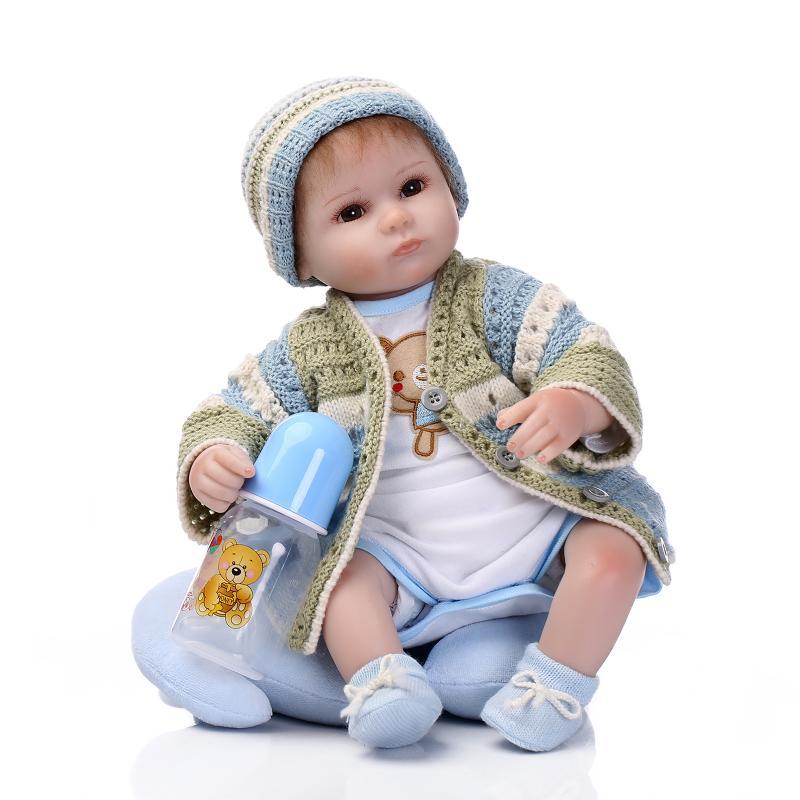 Fashion 17 Inch Newborn Dolls Soft Silicone Vinyl Realistic Babies Reborn bebe Dolls 42 cm Lifelike Kids Toys Christmas Gifts цена 2017