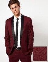 Последние конструкции пальто брюки бордовый/цвет красного вина Костюмы Для мужчин формальные Slim Fit пользовательские жених для выпускного 2