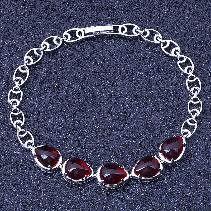 Classy Imtiation Red White Crystal Silver Plated Overlay Link Chain Bracelet Jewelry Bag S031 necklace