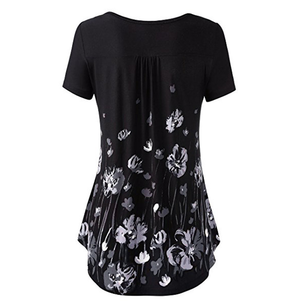 e41f6fc6711 gothic top shirt Tunic Top Shirt Flared flower shirt summer dress gothic  Button Front Pleated womens black short tshirt dropship-in T-Shirts from  Women's ...