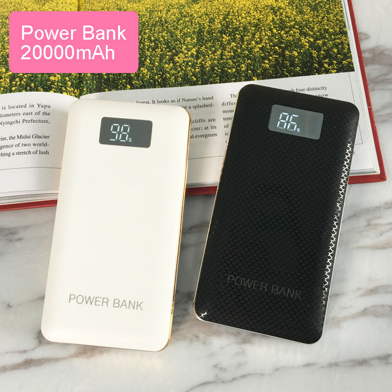 Hot 20000mAh LCD Power Bank with LED light 3USB output External battery charger powerbank for mobile