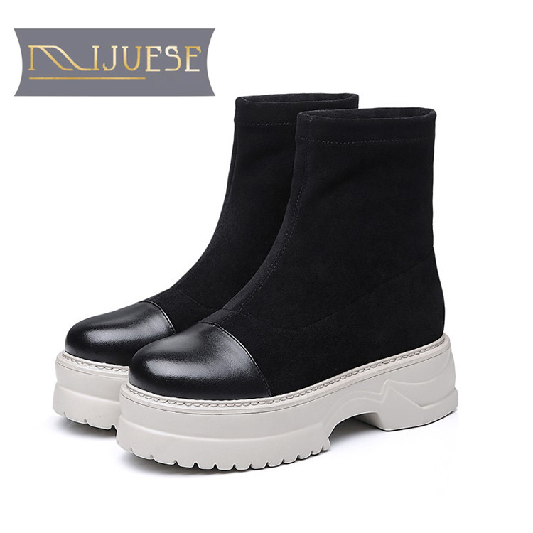 MLJUESE 2018 women ankle boots Cow leather Rome style strange heel winter short plush platform boots women Chelsea bootsMLJUESE 2018 women ankle boots Cow leather Rome style strange heel winter short plush platform boots women Chelsea boots