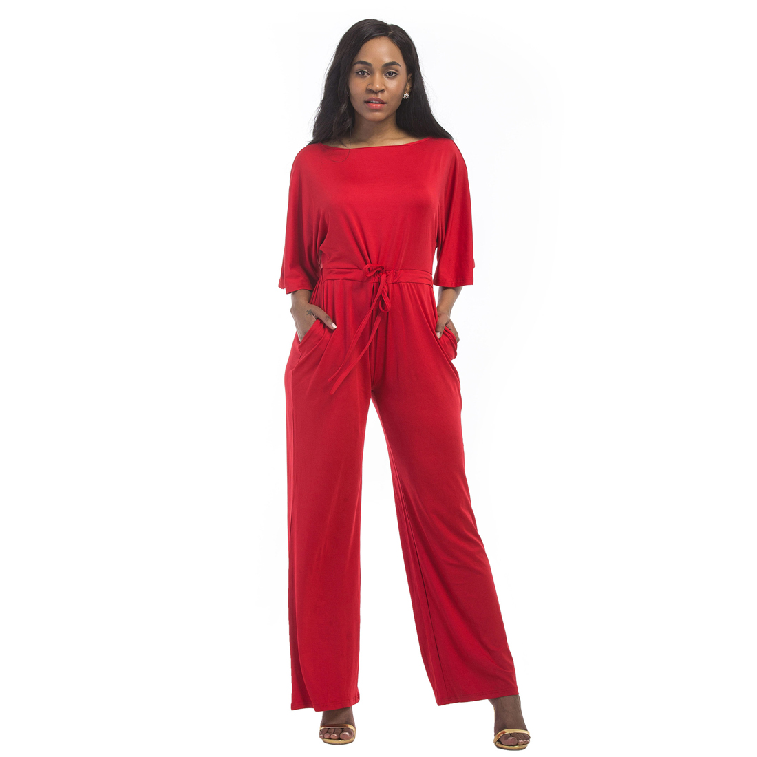 Plus Size Loose Jumpsuits Women Short Sleeve Tied Waist Solid Overalls 2017 Office Work Elegant Rompers 2017 Long Wide Leg Pants