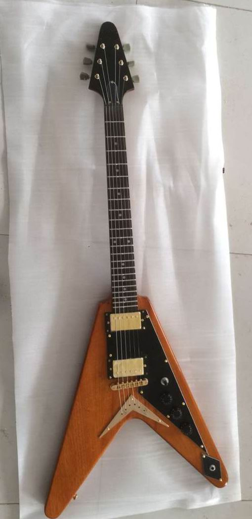 цены Wholesale Electric Guitars G Flying V Model Electric Guitar Mahogany Top Quality In Natural Wooden 1703020