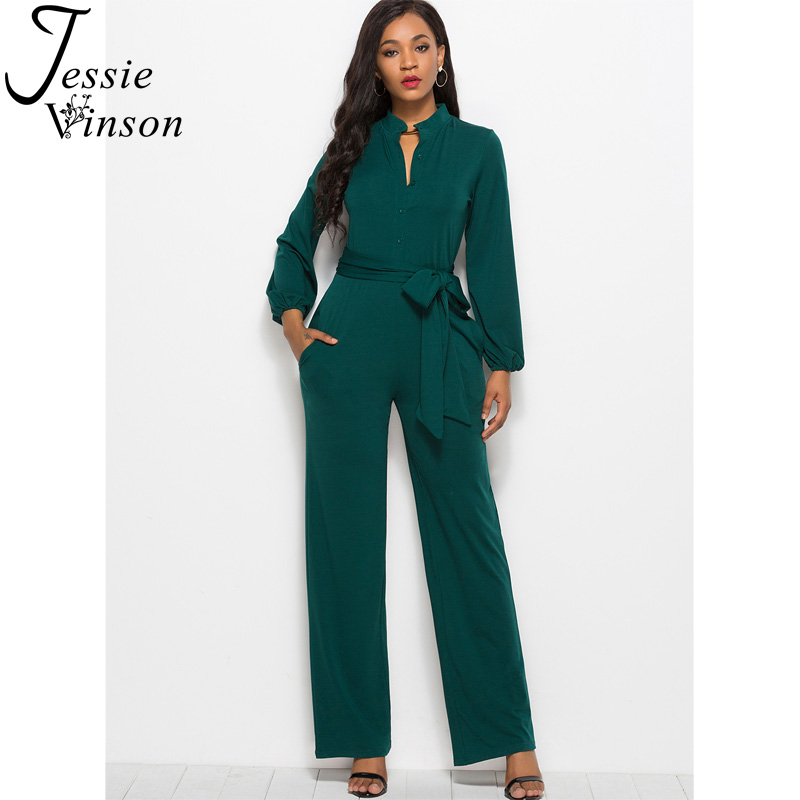 Jessie Vinson Turtleneck Long Sleeve Wide Leg Jumpsuit Buttons Black Rompers Womens Jumpsuits Plus Size Long Pants Overalls