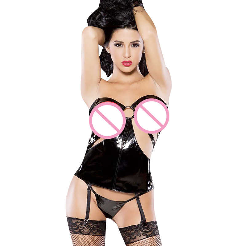 Sexy PVC Wetlook Lingerie Cupless Hot Strappy Open Cup Vinyl Leather Sexy Corset Bondage Teddies Plus Size Erotic Lingerie